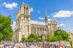 Paris, France June 1, 2015: World famous Notre Dame Cathedral as seen from outside, stunning architecture and beautiful Stock Image