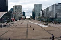 View of La Defense business district. Square, skyscrapers, malls and Arc de Triomphe. Paris, France, 15 Aug 2018. stock photography