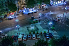 PARIS, FRANCE, le 26 avril 2016 Place de San Agustin la nuit photographie stock libre de droits