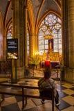 Paris, France, le 27 mars 2017 : L'intérieur du Notre Dame de Paris Images stock