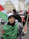 Paris, France, Libya Demonstration,. In Support of Libyan Revolution, Palestinian Flag Stock Photography