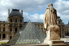 Paris, France: Louvre Museum & Pyramide Stock Images