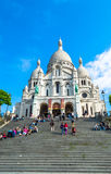 Paris, France - 27 mai 2015 : Basilique de Sacre Coeur à Paris au jour avec le ciel lumineux bleu Photos libres de droits