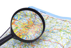 Free Paris - France Map Under Lupe Royalty Free Stock Photo - 4784605