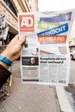Algemeen Dagblad  newspaper with portrait of Stephen Hawking the. PARIS, FRANCE - MAR 15, 2018: Algemeen Dagblad  newspaper with portrait of Stephen Hawking the Royalty Free Stock Image