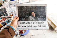 Newspaper about Stephen Hawking Death on the first page portrait. PARIS, FRANCE - MAR 15, 2018: International newspaper The Daily Telegrph with portrait of Royalty Free Stock Photos