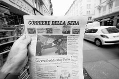 Newspaper about Stephen Hawking Death on the first page portrait. PARIS, FRANCE - MAR 15, 2018: Italian Corriere della Sera newspaper with portrait of Stephen Stock Photography