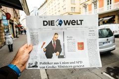 Die Welt  Russian presidential election from 2018 with the winne Royalty Free Stock Photography
