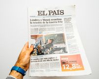 El Pais about dead of Stephen Hawking. PARIS, FRANCE - MAR 19, 2018: POV at Spanish El Pais newspaper with portrait of Stephen Hawking the English theoretical Royalty Free Stock Photography