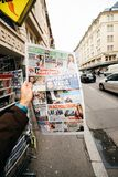 Turkish Hurriyet newspaper with portrait of Stephen Hawking the. PARIS, FRANCE - MAR 15, 2018: Turkish Hurriyet newspaper with portrait of Stephen Hawking the stock photos