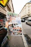 Turkish Hurriyet newspaper with portrait of Stephen Hawking the. PARIS, FRANCE - MAR 15, 2018: Turkish Hurriyet newspaper with portrait of Stephen Hawking the Stock Photos