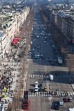 Above view of Avenues des Champs Elysees in Paris Royalty Free Stock Photo