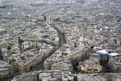 PARIS, FRANCE - MARCH 23, 2016: Aerial view of Paris Skyline fro. M Eiffel Tower in Paris, France royalty free stock photo