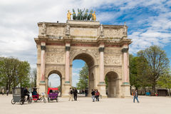 Paris, France, March 31 2017: The Arc de Triomphe du Carrousel is a triumphal arch in Paris, located in the Place du Stock Photo