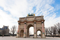 The Arc de Triomphe du Carrousel in Paris. PARIS, FRANCE - MARCH 5: The Arc de Triomphe du Carrousel. It was built between 1806 and 1808 to commemorate Napoleon' Stock Images