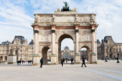 The Arc de Triomphe du Carrousel in Paris. PARIS, FRANCE - MARCH 5: The Arc de Triomphe du Carrousel. It was built between 1806 and 1808 to commemorate Napoleon' Royalty Free Stock Photos