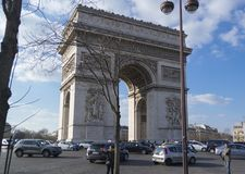PARIS, FRANCE - MARCH 22, 2016: Arc de Triomphe in Paris. France. The Arc de Triomphe is one of Paris most famous landmarks Stock Images