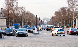 Avenues des Champs Elysees in Paris Royalty Free Stock Photography