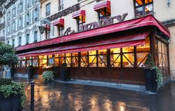 The brasserie Chez Jenny at rainy morning . It is traditional French brasserie located near Republic square in Paris. Paris, France-March 10, 2019 : The stock images