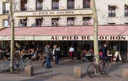 The famous restaurant Au pied du cochon, Paris, France. Paris France-March 24, 2018 : The famous restaurant Au pied du cochon located in Les Halles district of Royalty Free Stock Images