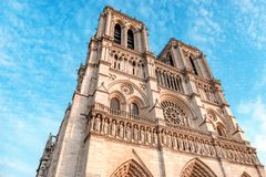 Front side of Notre Dame de Paris Cathedral, most beautiful Cathedral in Paris. France stock photo