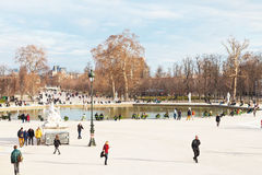 Pond (Grand Basin Octagonal) in Tuileries Garden, Paris Stock Images