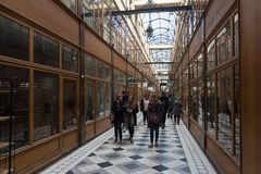 The Grand Cerf passage is one of the largest covered arcades in Paris. PARIS, FRANCE - MARCH 24, 2018: Grand Cerf covered arcade was created in 1825, not far Royalty Free Stock Photography