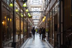 The Grand Cerf passage is one of the largest covered arcades in Paris. PARIS, FRANCE - MARCH 24, 2018: Grand Cerf covered arcade was created in 1825, not far Stock Images