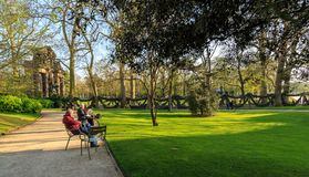 Paris, France, March 27 2017: Historic Luxembourg Gardens Jardin du Luxembourg- public garden in the 6th. Arrondissement of Paris, France. Popular tourists and stock photo