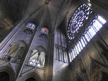 Paris, France - March 31, 2019: Inside the Catholic Cathedral of Notre Dame, view window roses, Paris, France. UNESCO world. Heritage royalty free stock photo