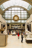 Paris, France, March 28 2017: The interior of musee d`orsay. It is housed in the former Gare d`Orsay, a Beaux-Arts Royalty Free Stock Image