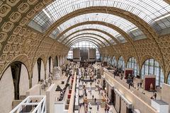 Paris, France, March 28 2017: The interior of musee d`orsay. It is housed in the former Gare d`Orsay, a Beaux-Arts Royalty Free Stock Images