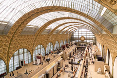 Paris, France, March 28 2017: The interior of musee d`orsay on September 12 2015 in Paris. It is housed in the former Royalty Free Stock Photo