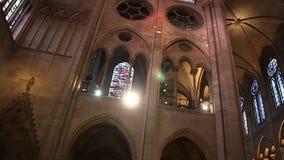 PARIS, FRANCE - March 22, 2016: Interior of Notre Dame de Paris. France stock video footage