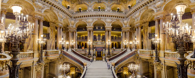 Paris, France, March 31 2017: Interior view of the Opera National de Paris Garnier, France. It was built from 1861 to Stock Photography