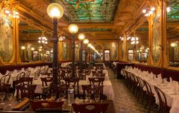 Brasserie Julien is historical monument of Paris .It was founded in 1903. Paris, France-March 21, 2018 :Located right in the heart of Paris, a stone s throw Royalty Free Stock Image