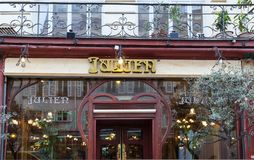 Brasserie Julien is historical monument of Paris .It was founded in 1903. Paris, France-March 21, 2018 :Located right in the heart of Paris, a stone s throw Stock Photo