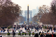 View of Obelisk and triumphal arch from Tuileries Garden, Paris Stock Image