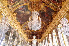 Paris, France, March 28 2017: Mirror`s hall of Versailles Chateau. France. Paris, France, March 28 2017: Mirror`s hall of Versailles Chateau France Stock Image
