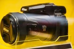 Nikon camera. Paris, France - March 18, 2019: Nikon camera. Selective focus. Nikon Corporation is a Japanese multinational corporation headquartered in Tokyo stock image