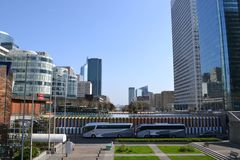 Paris / France - March 29 2012: Panorama of the district of La Defense in Paris towards the city center. stock photography