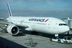 PARIS, FRANCE - MARCH 6 2018  - paris airport landing and loading cargo and passenger Royalty Free Stock Images