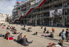 PARIS, FRANCE – MARCH 07, 2014: People relaxing in front of th Stock Photo