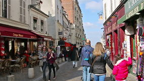PARIS, FRANCE - March 22, 2016 :People walking on streets of Montmartre stock footage