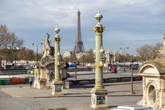 Paris, France, March 28 2017: Place de la Concorde on Summer Day in Paris, France.  Royalty Free Stock Photography