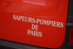 Paris Fire Brigade. Paris, France - March 16, 2019: Sapeurs-pompiers de Paris sign. Paris Fire Brigade is a French Army unit which serves as the primary fire and royalty free stock photo