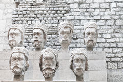 Stone heads from Notre-Dame at the Cluny Museum Royalty Free Stock Images