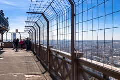 Paris, France - March 30, 2017: Top of the Eiffel Tower. This is the top floor observation deck at the Eiffel Tower in. Paris. France Stock Photos