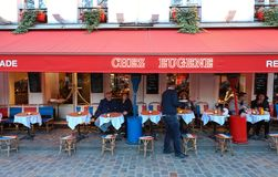 The traditional French restaurant Chez Eugene located in Montmartre in 18 district of Paris, France. Paris, France-March 06, 2019 : the traditional French stock images