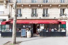 The traditional Parisian bistro Chez Margot , Paris, France. Paris, France-March 11,2018: The traditional Parisian bistro Chez Margot situated in front of royalty free stock photos